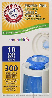 Munchkin Arm Hammer Diaper Pail Refill Bags 10ct Holds up to 300 Diapers Total