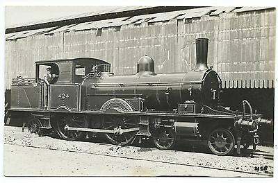 LONDON & SOUTH WESTERN RAILWAY - Steam Loco no.424  Moore Real Photo Postcard