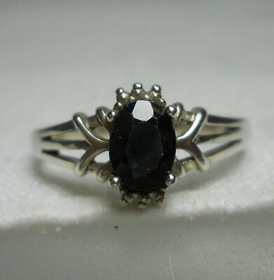 Vintage Sterling Silver 925 Estate Ring with Faceted Black Stone - Size 9