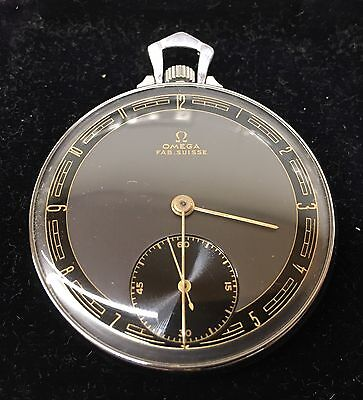 *BEAUTIFUL* VINTAGE 1940s OMEGA Pocket Watch - Fully Working Order, Case & Chain