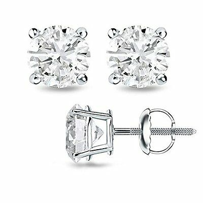 0.60CT H/SI1 Round Cut Genuine Diamonds 14K Solid White Gold Stud Earrings