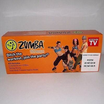 Zumba Fitness Toning Sticks + 4 Dvds & Guide Book Exercise Dance Workout Boxed