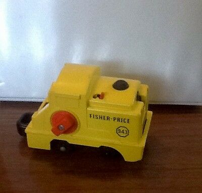 Vintage Fisher Price Yellow Train Engine 943 winding Toy