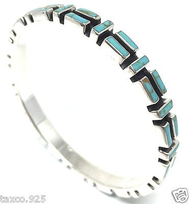 Taxco Mexican 925 Sterling Silver Turquoise Mosaic Motif Bangle Bracelet Mexico