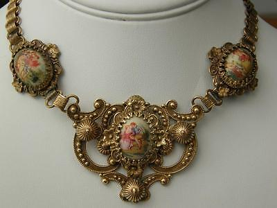 Ant Victorian Ornate Goldfilled Bookchain Necklace Hand Painted Porcelain Stones
