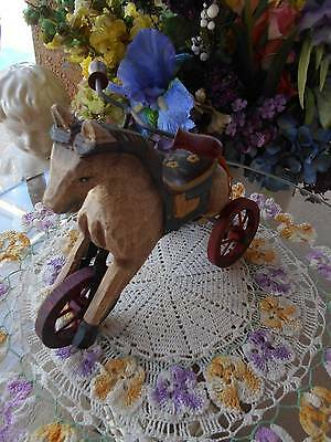 vintage inspired hand carved & painted WOOD HORSE DECOR on wheels tricycle