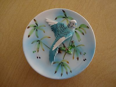 "Vtg 5"" Ceramic Wall Pocket Turquoise Blue Parakeet Budgie Parrot marked B1769"