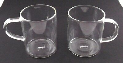 Primula Lot of 2 Clear Glass Light Weight TEA Coffee Cup Mugs