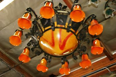 Art Deco  Style Heavy Duty Wrought Iron Chandelier & Yellow/red Glass Shades