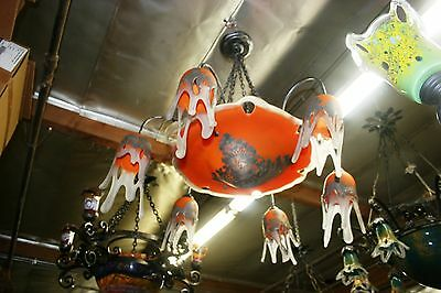 Signed Art Deco Style Hand Crafted Glass Chandelier Silvered Painting Coated #2