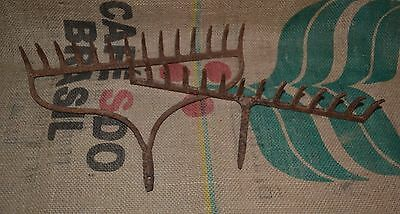 2 Antique Vintage Garden Rake Heads Steampunk Rusty Rustic Farm Decor 14 Tines