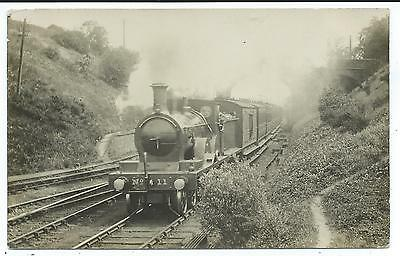 GREAT CENTRAL RAILWAY - Steam Loco no.11 on PASSENGER TRAIN Real Photo Postcard