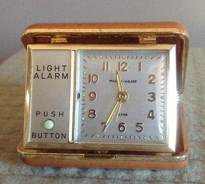 Vintage Phinney Walker Travel Alarm Clock w/ Light TESTED & WORKING
