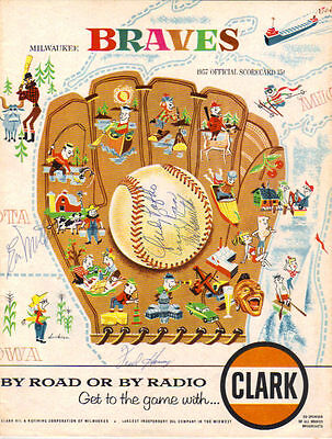 1957 St Louis Cardinals Milwaukee Braves Signed Program