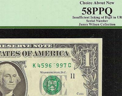 1977 $1 Dollar Bill Insufficient Inking Error Note Currency Paper Money Pcgs 58