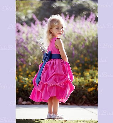 Flower Girl Princess Dress FUCHSIA Pageant Wedding Bridesmaid Child FORMAL PARTY