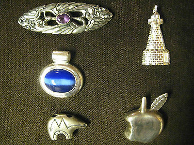 Sterling Silver Jewellery .925  5 Pieces  Estate Auction Find