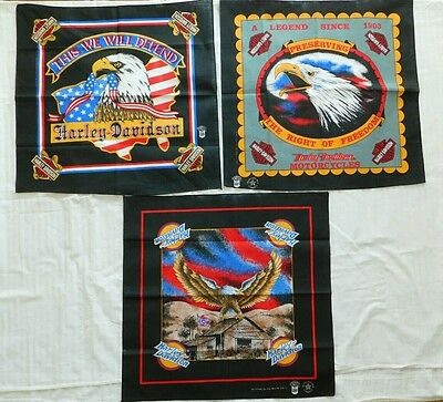 HARLEY DAVIDSON Bandana Doo Rag Flags Made in USA 80's Vintage LOT OF 3
