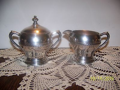 """Beautiful Silver Plated Creamer And Lidded  Sugar Bowl 3"""" Tall 2 3/4"""" Bases"""