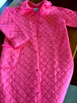 Vintage Givoni quilted  brunch coat - bright coral - Size SSW