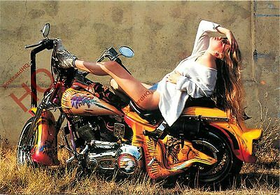 Postcard: MOTORCYCLE, HARLEY DAVIDSON, WITH A LADY ON TOP