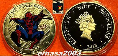 Spider-Man 50 Años - Niue Two Dollars 2013 - Oro - Moneda 29 Grs  40 Mm Capsula