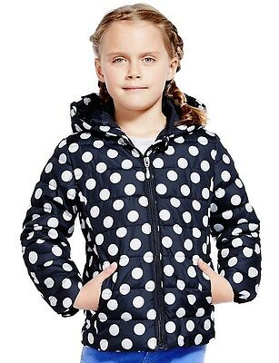 Girls M&S Lightly Padded Spotted Thermal Jacket Hooded Coat 8346 & Pouch 4-7 YRS