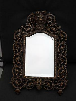 """Antique Solid Bronze Greek Figural Beveled Glass Wall Mirror 1800's 15""""x10"""""""