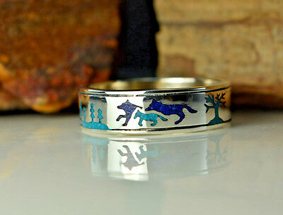 Sterling silver band of wolves ring w/ Lapis and Turquoise ~ Sizes 6 through 13