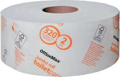 Toilet Paper Jumbo Roll 320m 2 Ply, Carton/6 OfficeMax x 4 Cartons