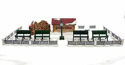 Dept 56 Dicken's Village PARK BENCHES IRON FENCES SIGN WOODPILE CLOCK Lot of 17
