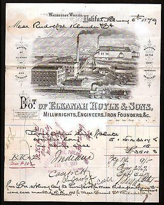 1879 Halifax  Millwrights Iron Founders Elkanah Hoyle & Sons SUPERB Letter Head