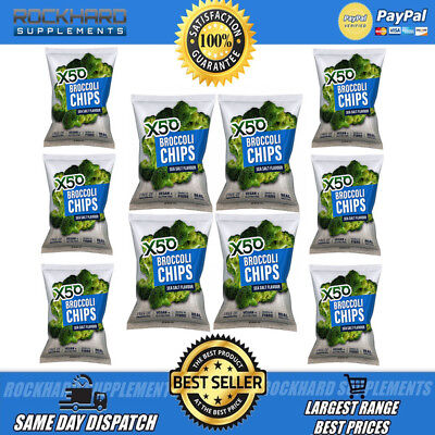 X50 Broccoli Chips Rock Salt Flavour Tribeca Health 10 Pack Broccoli Tribecca