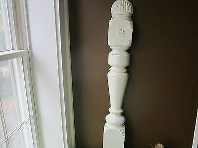 Shabby creamy white antique wood newel post. Wall Architectural  detail. Best!