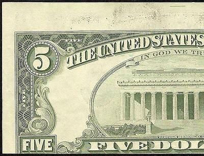 1988 A $5 Dollar Bill Misaligned Back Print Error Note Currency Paper Money
