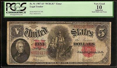 Large 1907 $5 Dollar Bill U.s. Legal Tender Note Wood Chopper And His Dog Pcgs