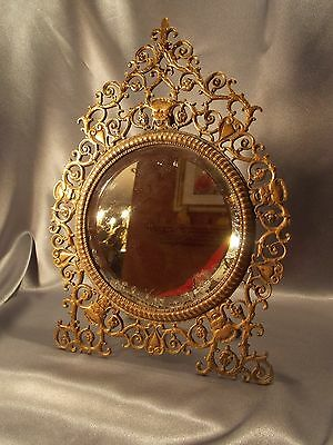 Beautiful Antique Bronze Victorian Ornate Gargoyle Beveled Mirror 19th Century