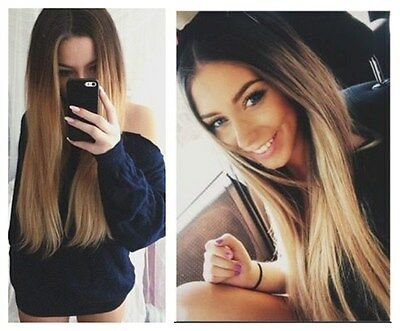 6pcs Pack Full Head Straight Balayage Ombre Clip in Hair Extensions Brown Blonde