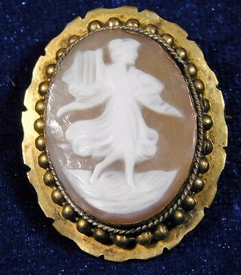 Atq Victorian Carved Shell Cameo Harp Angel Woman Pin Brooch