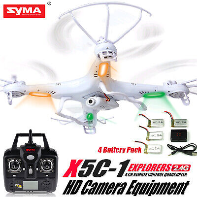 Syma X5C-1 2.4Ghz 4CH 6-Axis Gyro RC Quadcopter Drone w/ HD Camera + 4 Batteries