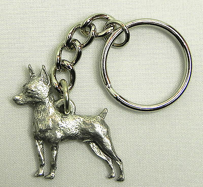 Miniature Pinscher Dog Keychain Keyring Harris Pewter Made USA Key Chain Ring
