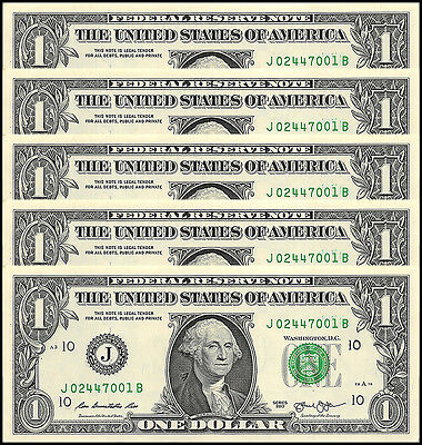 United States of America - USA $1 Dollar X 5 Pieces - PCS, 2013, P-537, UNC