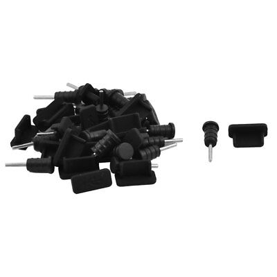 Phone Silicone Earphone Charger USB Dock Port Anti Dust Stopper Black 20 Set