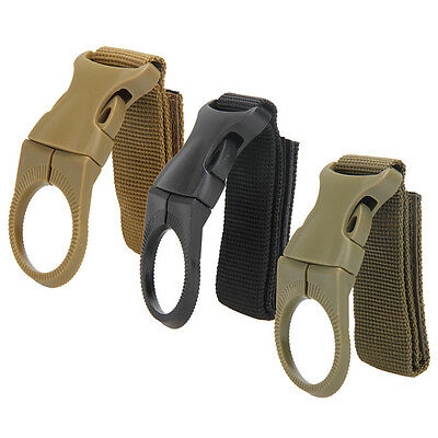 New Tactical Hiking Nylon Webbing Carabiner Water Bottle Holder Buckle Hook Clip