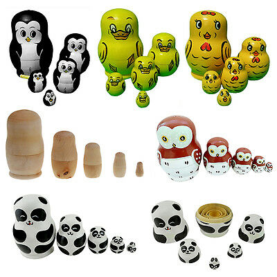 5×pcs Nesting Doll Madness Russian Babushka Matryoshka Doll Kids Toys Gift Craft