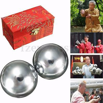 Baoding Balls Steel Chinese Health Exercise Stress Balls Chrome 53mm Pain Relief
