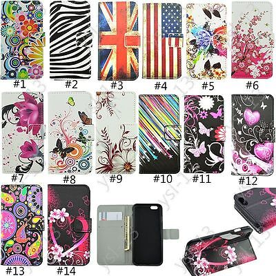 Pattern Magnetic Card Wallet Leather Flip Stand Case Cover For iphone 5S 5C 6 7