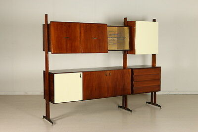 Living Room Cabinet Mahogany Veneer Formica Glass Vintage Italy 1950s