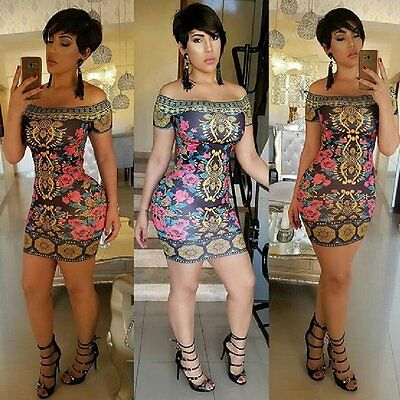 85dc8cb3edf Women Sexy Summer Floral Bandage Bodycon Evening Party Cocktail Short Mini  Dress