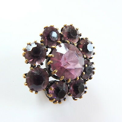 Fab Small Antique Edwardian Purple Glass Paste Brooch/Lace Pin